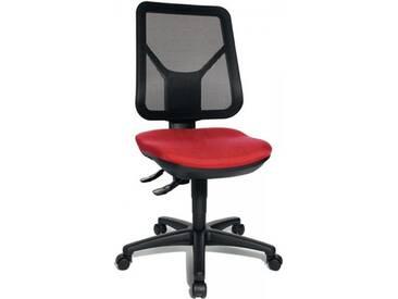 Bürodrehstuhl Sitzhöhe 430-510mm rot mit Lendenwirbelstütze ohne Armlehnen
