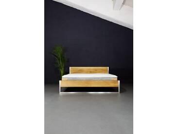 NATURE OAK Bed Stainless - Massivholz Bett aus Eiche und Edelstahl