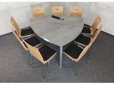 Konferenztisch Pendo Rondo Wankelform 160 cm Beton Optik Vor-Ort-Artikel