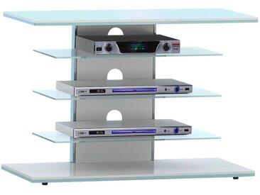Livetastic: TV-Rack, Klar, Weiß, B/H/T 80 66 42,5
