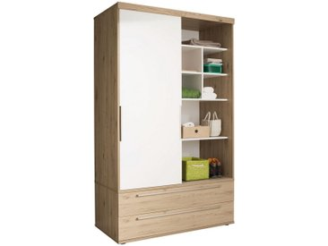 Paidi: Schiebetür, Holzwerkstoff, Weiß, Eiche, B/H/T 123,6 206,9 63,9
