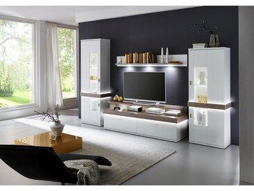 Xora: Wohnwand, Glas, Holzwerkstoff, Weiß, Silbereichen, B/H/T 340 208 51,8