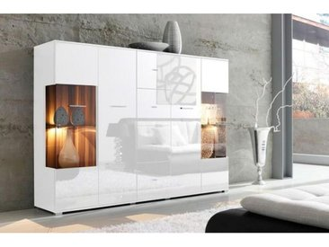 Livetastic: Highboard, Glas, Holzwerkstoff, Weiß, B/H/T 188 133 37