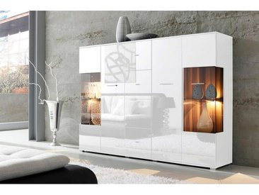 Carryhome: Highboard, Glas, Holzwerkstoff, Weiß, B/H/T 188 133 37