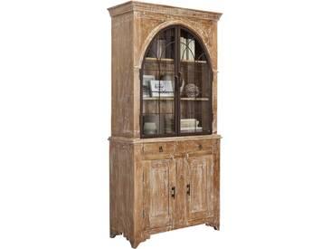 Ambia Home: Vitrine, Holz,Mangoholz, Natur, Weiß, B/H/T 100 210 46