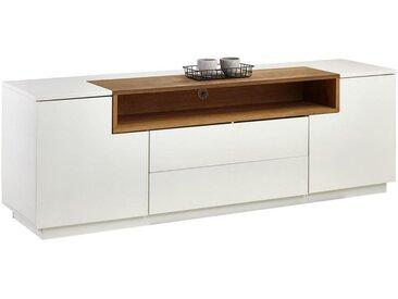 Xora: Lowboard, Holzwerkstoff,Eiche, Weiß, Eiche, B/H/T 180 59 45