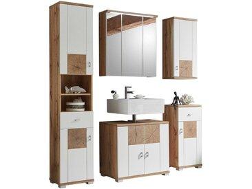 Livetastic: Badezimmer, Weiß, Eiche, B/H/T 146 190 40