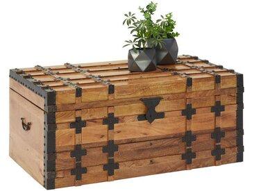 TRUHE Holz, Metall Mangoholz massiv