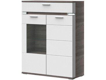 Stylife: Highboard, Glas, Holzwerkstoff, Braun, Grau, Weiß, B/H/T 100,1 126,2 41