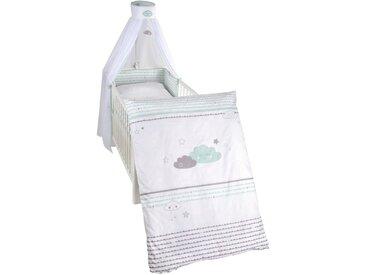 Roba: Gitterbett-Set, Grau, Weiß, Mintgrün