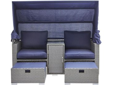 Amatio: Loungegarnitur, Grau, Dunkelblau, B/H/T 175 152(65) 80