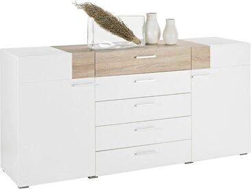 Kommode, Holzwerkstoff, Weiß, Sonoma Eiche, B/H/T 180 82 47