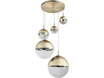 Hängeleuchte, Gold, Transparent, H 150