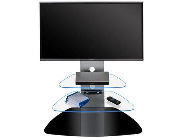 Livetastic: TV-Rack, Klar, Schwarz, Alu, B/H/T 88 113 48,4