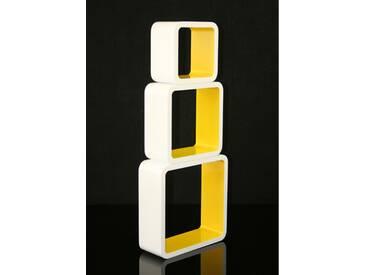 Cube Design Retro Wandregal in Gelb
