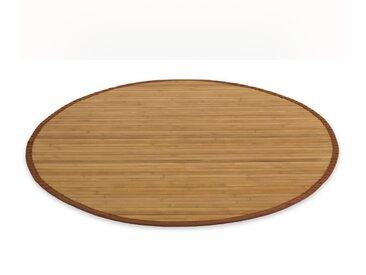 Bambusmatte Bambusteppich 150 cm rund braun Bambus Teppich