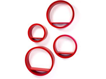 Cube Design Retro Wandregal CD Regal rot HAñngeRegal Cubes Rund 4 er Set Rot