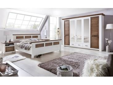 LAGUNA Schlafzimmer Set mit Schrank 5-trg Bett 200x200 Pinie teilmassiv weiß braun