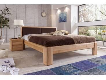 VERONA Bett 160x220 Kernbuche mit gepolstertem Kopfteil braun Überlänge