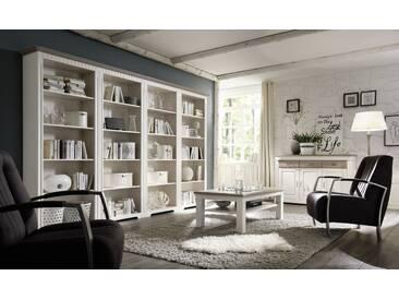 CORDOBA Bücher Regalwand 321 cm  Kiefer weiß grau