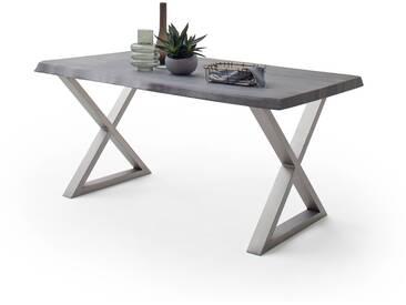 CALVERA Esstisch 240x100x79,5 cm Akazie grau sandgestrahlt lackiert inkl X-Form Edelstahlgestell