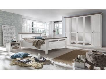 LOCARNO Schlafzimmer Set Drehtürenschrank 5-türig Bett 160x200 Pine massiv weiß grau