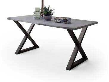 CALVERA Esstisch 180x100x77,5 cm Akazie grau sandgestrahlt lackiert inkl X-Form Stahlgestell anthrazit