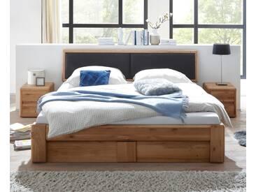 VERONA Bett 160x200 Wildeiche Kopfteil schwarz mit Bettkasten und Lattenrost