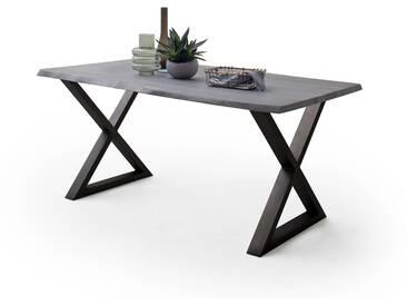 CALVERA Esstisch 200x100x77,5 cm Akazie grau sandgestrahlt lackiert inkl X-Form Stahlgestell anthrazit