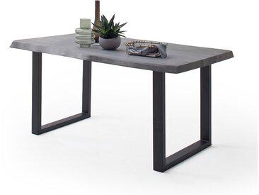 CALVERA Esstisch 220x100x79,5 cm Akazie grau sandgestrahlt lackiert inkl Stahlgestell U-Form anthrazit