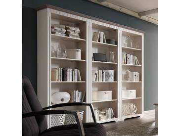 CORDOBA Bücher Regalwand 243 cm  Kiefer weiß grau