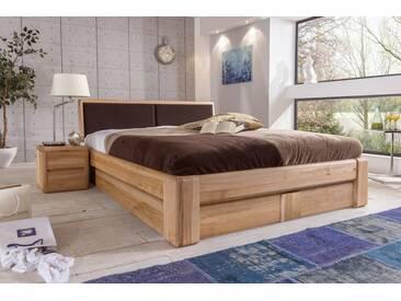 VERONA Bett 200x200 Kernbuche Kopfteil braun mit Bettkasten und Lattenrost