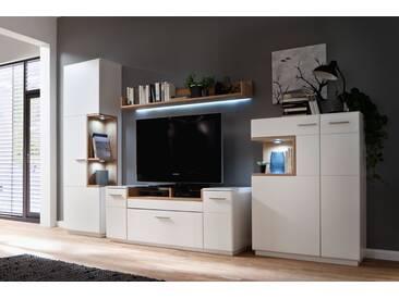 CESINA von MCA Wohnwand Nr 1 weiß matt & Asteiche