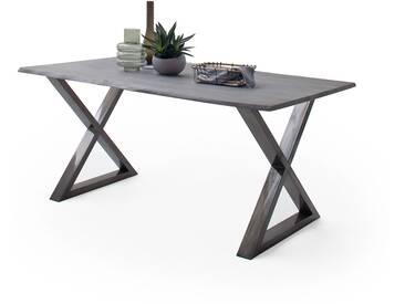 CALVERA Esstisch 160x90x76,5 cm Akazie grau sandgestrahlt lackiert inkl X-Form Stahlgestell antik