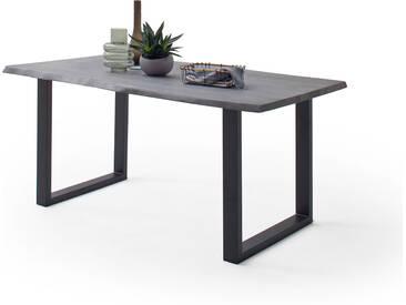 CALVERA Esstisch 200x100x77,5 cm Akazie grau sandgestrahlt lackiert inkl U-Form Stahlgestell anthrazit