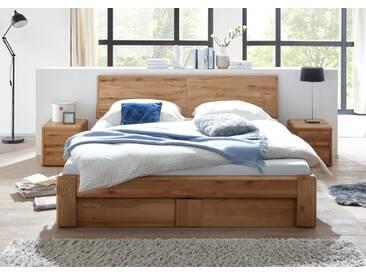 VERONA Bett 180x200 Wildeiche massiv mit Bettkasten und Lattenrost