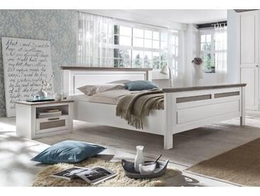 LOCARNO Doppelbett 200x200 Pinie teilmassiv weiß grau