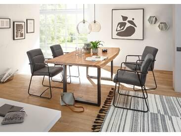 DELHI Essgruppe mit 4 Stühlen Akazie massiv Metall schwarz