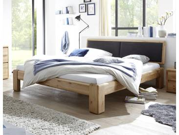 VERONA Bett 200x220 Wildeiche massiv mit gepolstertem Kopfteil schwarz Überlänge
