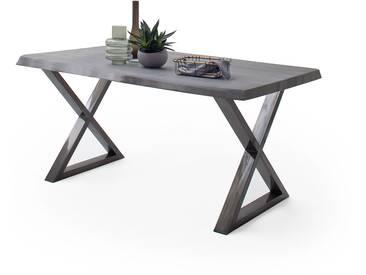 CALVERA Esstisch 200x100x79,5 cm Akazie grau sandgestrahlt lackiert inkl Stahlgestell X-Form antik