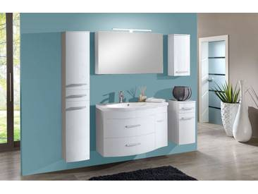 SAM® Badmöbel Set 5tlg Waschtisch 110 cm Hochglanz weiß Lugano XL Auf Lager !