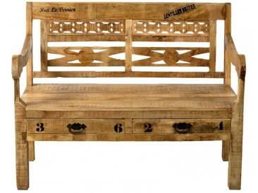 SAM® Sitzbank Holzbank 120 cm Rückenlehne Mangoholz Rustic Auf Lager !