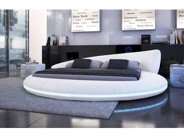 SAM® Rundbett Doppelbett weiß 180 x 200 cm LED Polsterbett RAISANI Auf Lager !