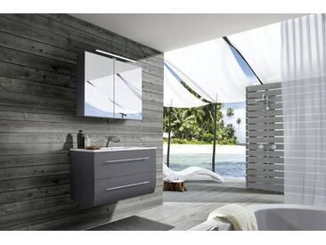 SAM® Badezimmermöbel Zagona 2tlg grau Hochglanz 90 cm Auf Lager !