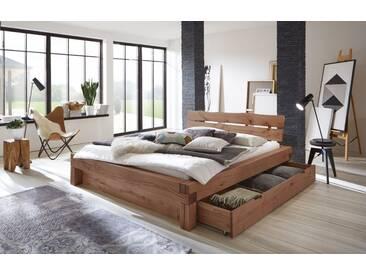 SAM® Balkenbett 200x200 Massivholzbett mit Bettkasten Fichte ELIAS Auf Lager!