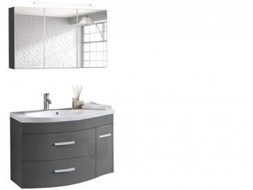 SAM® Badmöbel Set 2tlg Waschtisch 110 cm Hochglanz grau Lugano Auf Lager !