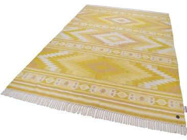 Tom Tailor Wollteppich  »Kelim Colors I«, 160x230 cm, 5 mm Gesamthöhe, gelb
