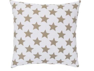 Elbersdrucke Kissen »STARS ALLOVER«, reine Baumwolle, weiß