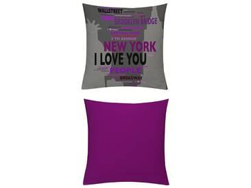 Emotion Textiles Kissenhüllen »New York Blau-Beere«, grau, blickdichter Stoff