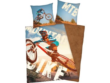 Herding Young Collection Jugendbettwäsche  »Mountainbike«, 80x80 cm, blau, aus 100% Baumwolle